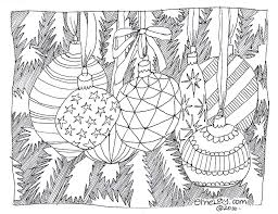 Christmas Tree Ornaments Free Adult Coloring Page Emelgy Tree Coloring Pages Ornaments