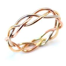 braided ring tri tone braided ring in gold gold and silver