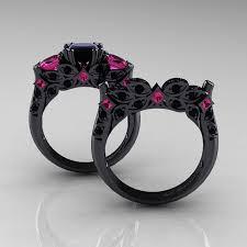 black and pink engagement rings black and pink wedding ring sets 14k black gold three pink