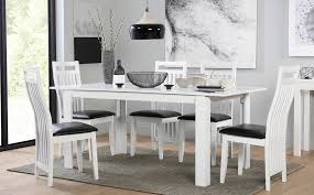 White Extending Dining Table And Chairs Aspen White Extending Dining Table And 6 Chairs Set Java Only