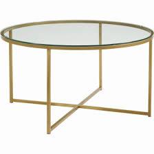 walker edison coffee table walker edison 36 round alissa coffee table clear bbf36alctggd