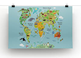 Map Of The World Poster by Children U0027s Animal World Map Canvas Print U0026 Poster Canvas Art Rocks