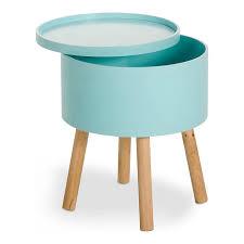 bout de canap coffre bout de canapé bleu glacier avec coffre de rangement cachou