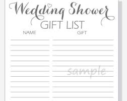 wedding gift list shower gift list etsy