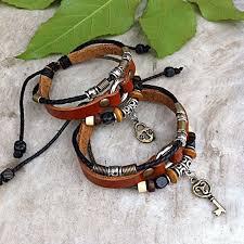 heart leather bracelet images Handmade couple leather bracelets heart and key on luulla jpg