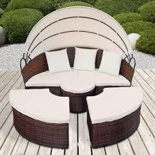 canapé de jardin canape de jardin rond modulable marron en résine tressée