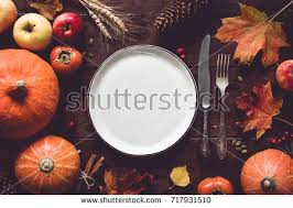 autumn thanksgiving day table setting stock photo