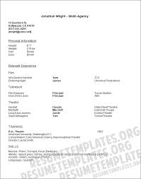 Sample Acting Resumes by Actors Resume Template 1 10 Actors Resume Template Terrific