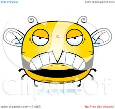 clipart graphic of a cartoon mad bee character mascot royalty