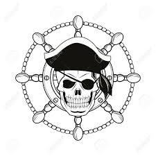 skull rudder pirate marine nautical icon black
