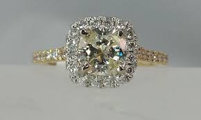gold cushion cut engagement rings cushion cut diamond yellow gold ring halo kuhn s jewelers