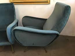 Italian Armchair Pair Of Grey Blue Velvet Italian Armchair 1950s Design Market