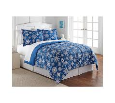 Home Classics Reversible Down Alternative Comforter Amazon Com Living Quarters Blue Snowflake Reversible Microfiber