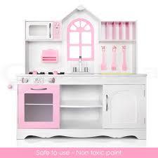 Childrens Wooden Kitchen Furniture Kids Wooden Pretend Play Kitchen Set Toy Toddlers Market Home