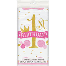 1st birthday pink and gold 1st birthday plastic tablecloth girl 1st birthday