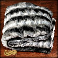 Fake Fur Blanket Irresistibly Soft Reversible Gray Chinchilla Minky Cuddle