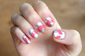 pink and silver chevron nails