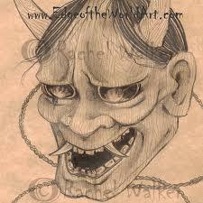 hanya sketch print japan yokai folklore creature demon