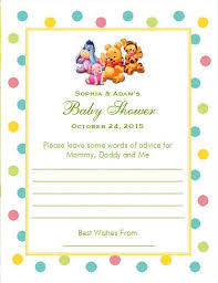 baby shower advice cards the baby pooh and friends baby shower advice cards