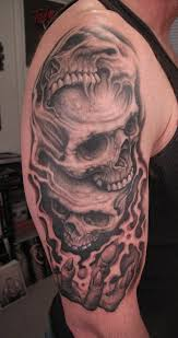wicked skull and flames tattoos on half sleeve in 2017 real photo