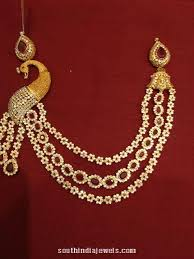gold stones necklace images Three layer gold stone peacock necklace south india jewels jpg