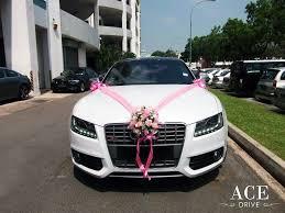 car decorations white audi s5 wedding car decorations by ace drive car rental