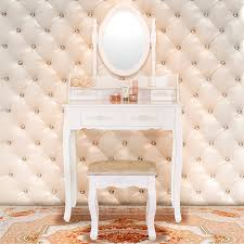 Vanity Makeup Desk With Mirror Amazon Com Elegance Vanity Makeup Table Set 4 Strawers Dressing