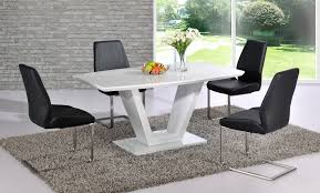 White Dining Table With Black Chairs White High Gloss Dining Table 6 Chairs Maggieshopepage