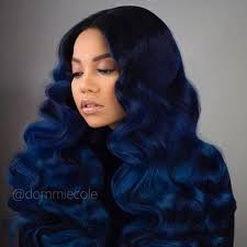 bohemian hair weave for black women bomb color and curls midnight blue to royal blue dommiecole
