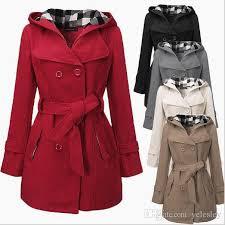 new winter women warm double breasted hooded belt long slim jacket