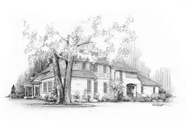 hand drawn custom pencil sketch of your house from a photo great