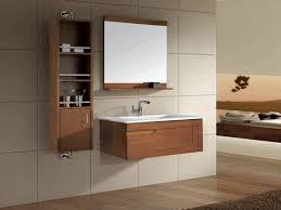bathroom cabinet shelves white porcelain console sink illuminated