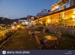 Outdoor Cafe Lighting by Outdoor Cafe Tables In The Evening Next To Phewa Fewa Lake In
