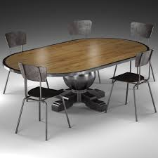 Industrial Kitchen Table Furniture Enzo Industrial Loft Pine Metal Oval Dining Table 3d Model Max Obj