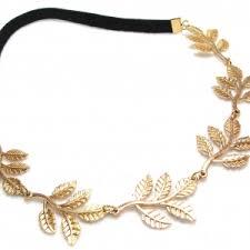 gold headband leaf elastic headband