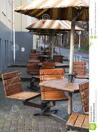 Cafe Chairs Wooden Wooden Cafe Chairs Tables And Umbrellas Royalty Free Stock Photos