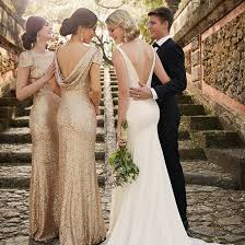 gold sequin floor length bridesmaid dresses with short sleeves