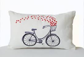 pillow cover canvas embroidered pillow cycle pillows