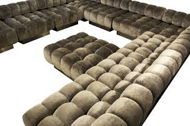 lovable grey velvet u shaped tufted sectional with square tufted