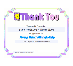 thank you certificate templates for word free printable