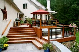 deck landscaping best wooden deck surrounded by privacy fence