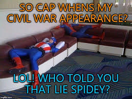 Funny America Memes - spider man asks captain america about the civil war appearance imgflip
