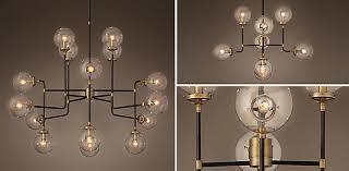 Modern Sphere Chandelier Bistro Globe Clear Glass Brass U0026 Bronze Rh
