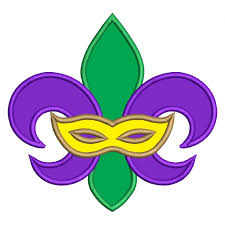 green mardi gras mask gras fleur de lis mask applique machine embroidery design