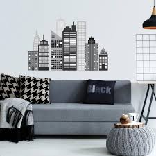 wall dressed up decals for instantly stylish walls cityscape wall decal black and white city skyline wall stickers