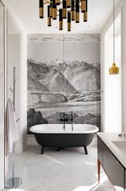 best 20 bathroom mural ideas on pinterest murals wall murals a wall mural wallpaper creates a fun illusion in this bathroom