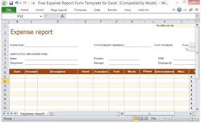 Expense Account Template by Free Expense Report Form Template For Excel