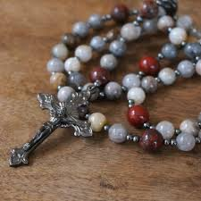 catholic rosary rosary gunmetal gemstone 5 decade catholic prayer by holyrocks