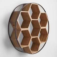 circular wood wall metal and wood honeycomb wall storage world market