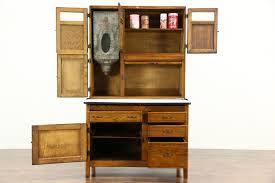 hoosier oak antique kitchen pantry cupboard roll top flour